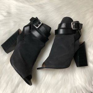 Black strap booties
